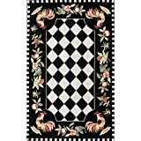 3'6″x5'6″ Black Red Lime Green Rooster Chicken Flowers Checkered Chessboard Printed Area Rug, Indoor Graphical Pattern Living Room Rectangle Carpet, Graphic Art Themed, Soft Wool Colorful Rich Design Review