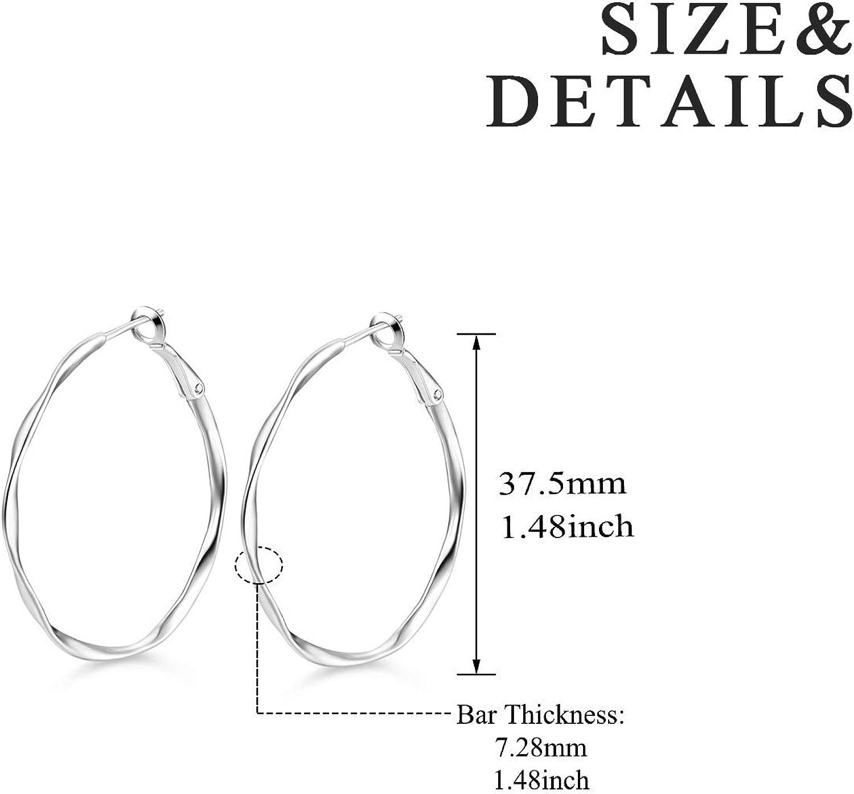 Boucles d/'oreilles Cr/éoles en Argent Sterling 925 Cercle Boucles doreilles Bijoux pour Femmes et Filles Cadeau danniversaire
