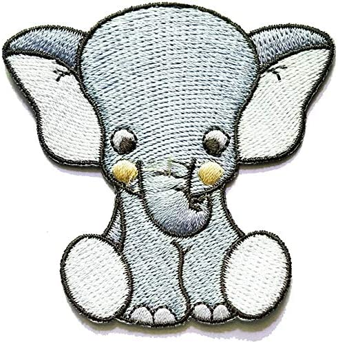 Nipitshop Patches Gray Elephant African Wild Zoo Animal Patch for Cartoon Kids Patch Ideal for adorning Your Jeans Hats Bags Jackets Shirts or Gift Set