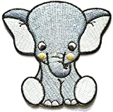 Nipitshop Patches African Elephant Safari Wild Life Embroidered Iron On Applique Cute Elephant Animal Cartoon Kids Patch Sew On/Iron On Patch Applique Clothes Dress Plant Hat Jeans Sewing