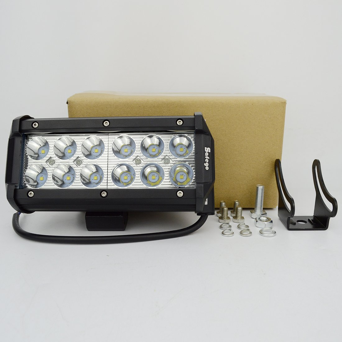 12 LED Work Light Bar SAFEGO 1PCS 180W Spot Beam 13200LM Super Bright 6500K for Off-road Car Truck Tractor Jeep Boat Driving Lamp 12V 24V Waterproof IP67
