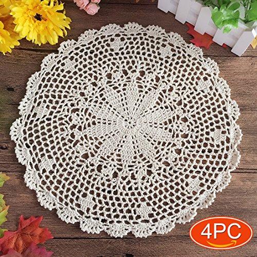 Elesa Miracle Handmade Round Crochet Cotton Lace Table Pl...