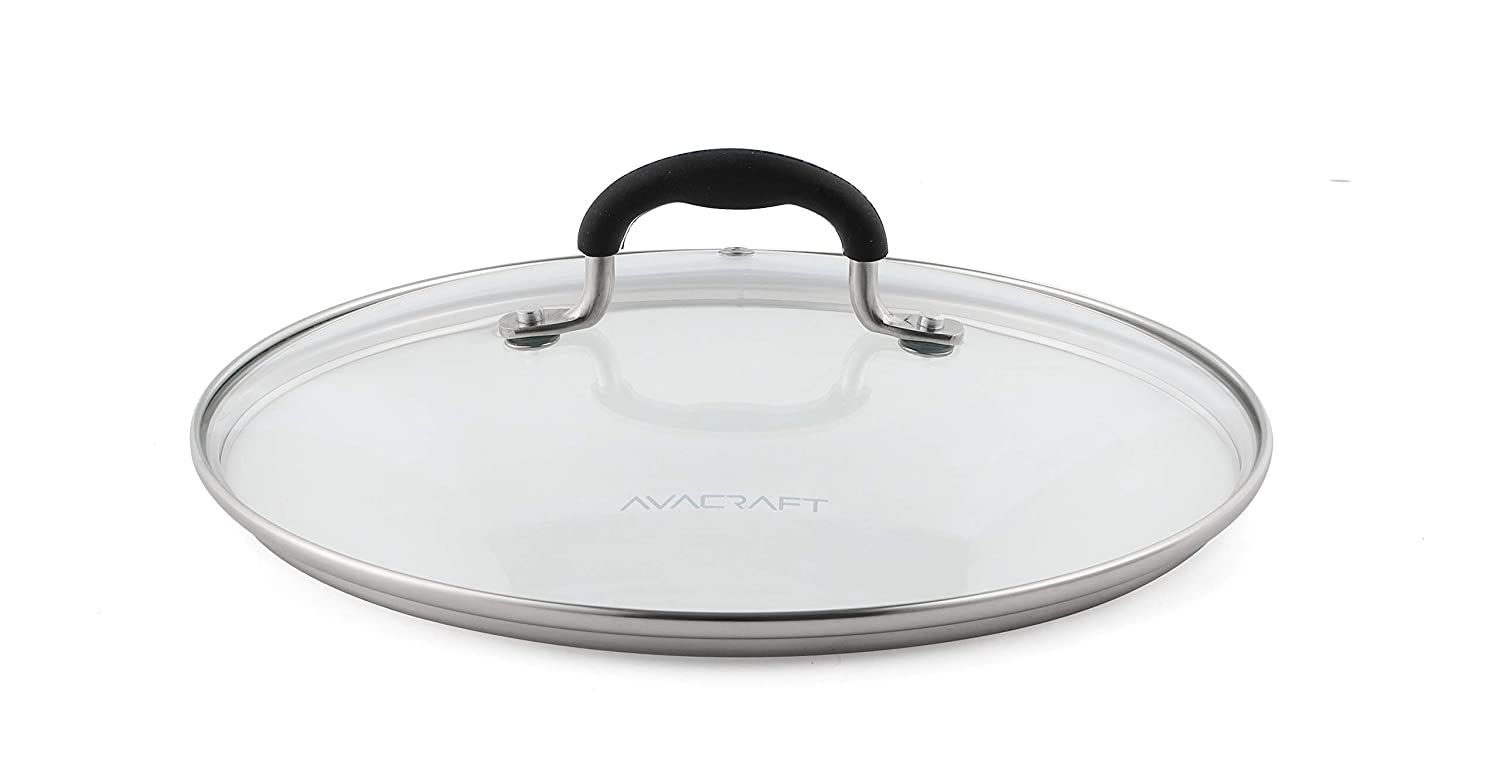 """AVACRAFT Glass Lid for 10"""" Frying pan, Fry Pan, Skillet, pan lid with handle coated in Silicone lid. Works for pots and pans with 10' inner rim (Glass Lid, 10 inch)"""