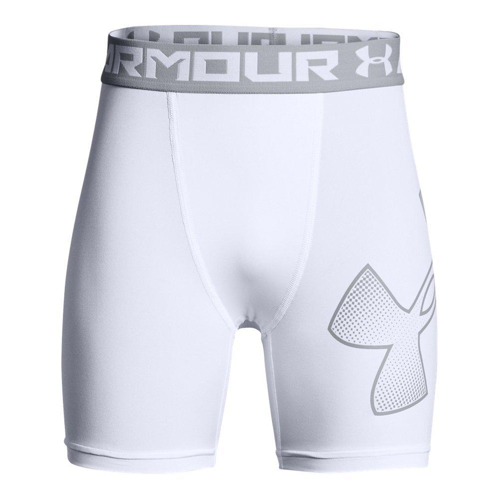 Under Armour Boys Heatgear Armour Mid Shorts, White (101)/Overcast Gray, Youth X-Small