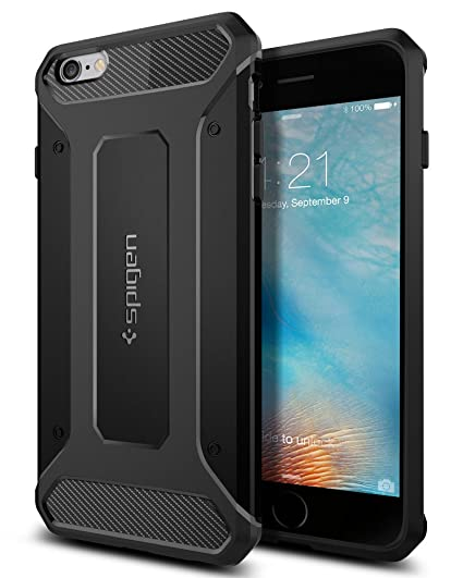 e1ceff81281 Amazon.com  Spigen Rugged Armor iPhone 6S Plus Case with Resilient Shock  Absorption and Carbon Fiber Design for iPhone 6S Plus 2015 - Black  Cell  Phones   ...