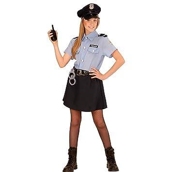 0b0b7511e NET TOYS Disfraz Infantil de policía Niña Agente policial M 140 cm años 8 -  10 Traje Fuerzas de Seguridad para Chicas Uniforme Agente de la Ley ...