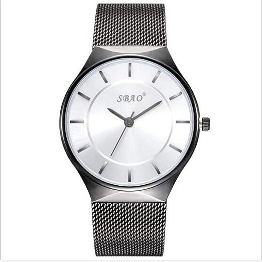 Relojes Hombres y Mujeres Parejas Miran el Reloj de Moda de Tres Agujas Correa de Malla Impermeable Reloj, K: Amazon.es: Relojes