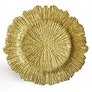 Gold Reef Ruffled Edge Glass Charger Plate by ChargeIt by Jay
