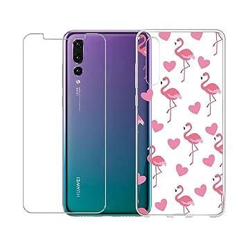 Funda para Huawei P20 Pro , IJIA Transparente Flamingos TPU ...