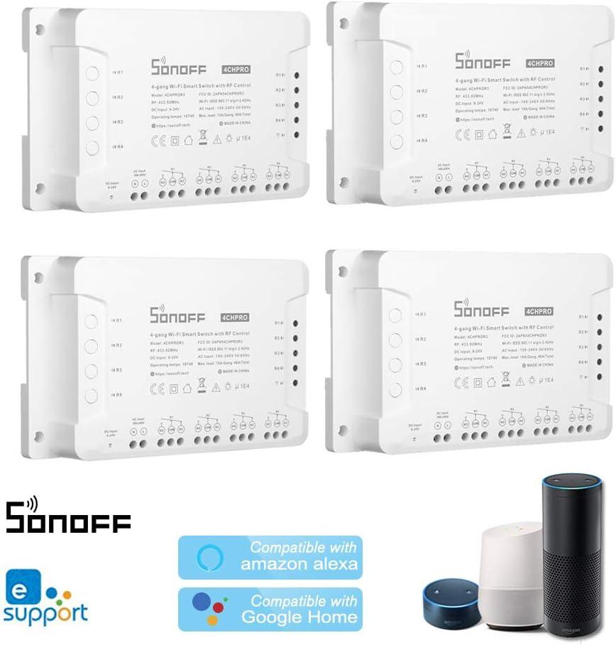 SONOFF 4CH R3//Pro R3 ITEAD RF 433MHz 4 Gang Compatible con  Alexa y Google Home//Nest Smart Home OWSOO 1PCS Interruptor WiFi Temporizaci/ón Control Remoto de App 3 Modos de Trabajo