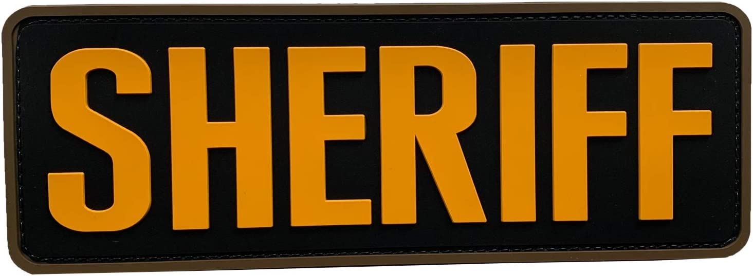 """uuKen Large Yellow Sheriff Patch 8.5""""x3"""" for Tactical Vest Police Law Enforcement Plate Carrier (Black and Yellow)"""
