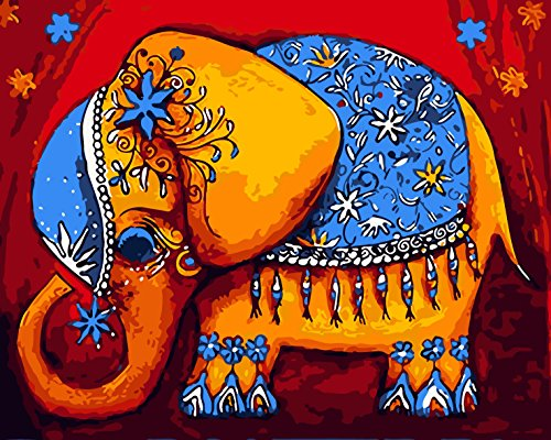 TianMai New Paint by Number Kits - Bright Color Elephant 16x20 inch Linen Canvas Paintworks - Digital Oil Painting Canvas Kits for Adults Children Kids Decorations Gifts (No Frame)