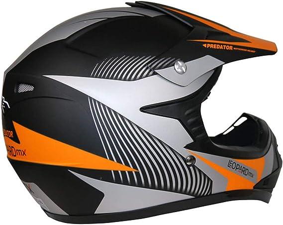 Leopard LEO-X19 {Kinder Motorrad Helm S Handschuhe S-5cm} Orange Kinder Motocrosshelme M/ädchen Jungen Dirt Bike Fullface MX Helm 49-50cm