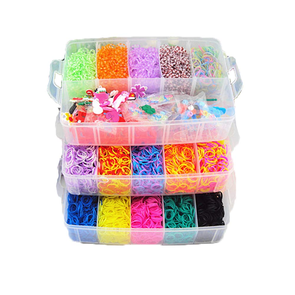 Calababy Colorful Loom Kit-15000 Rubber Bands,25 Colors,1 Loom,40 Charms,1 Crochet,2 Rubber Band Braids,9 Packs S Clips, 5 Packs Beads,6 Small Hook
