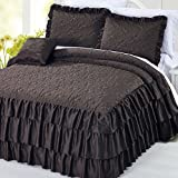 Serenta 4 Piece Matte Satin Ruffle Quilted Bedspread Set, King, Chocolate