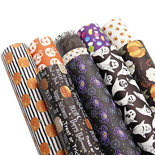 David accessories Halloween Pumpkin Candy Pattern Printed Leather Sheets Fabric Canvas Back 9Pcs 8