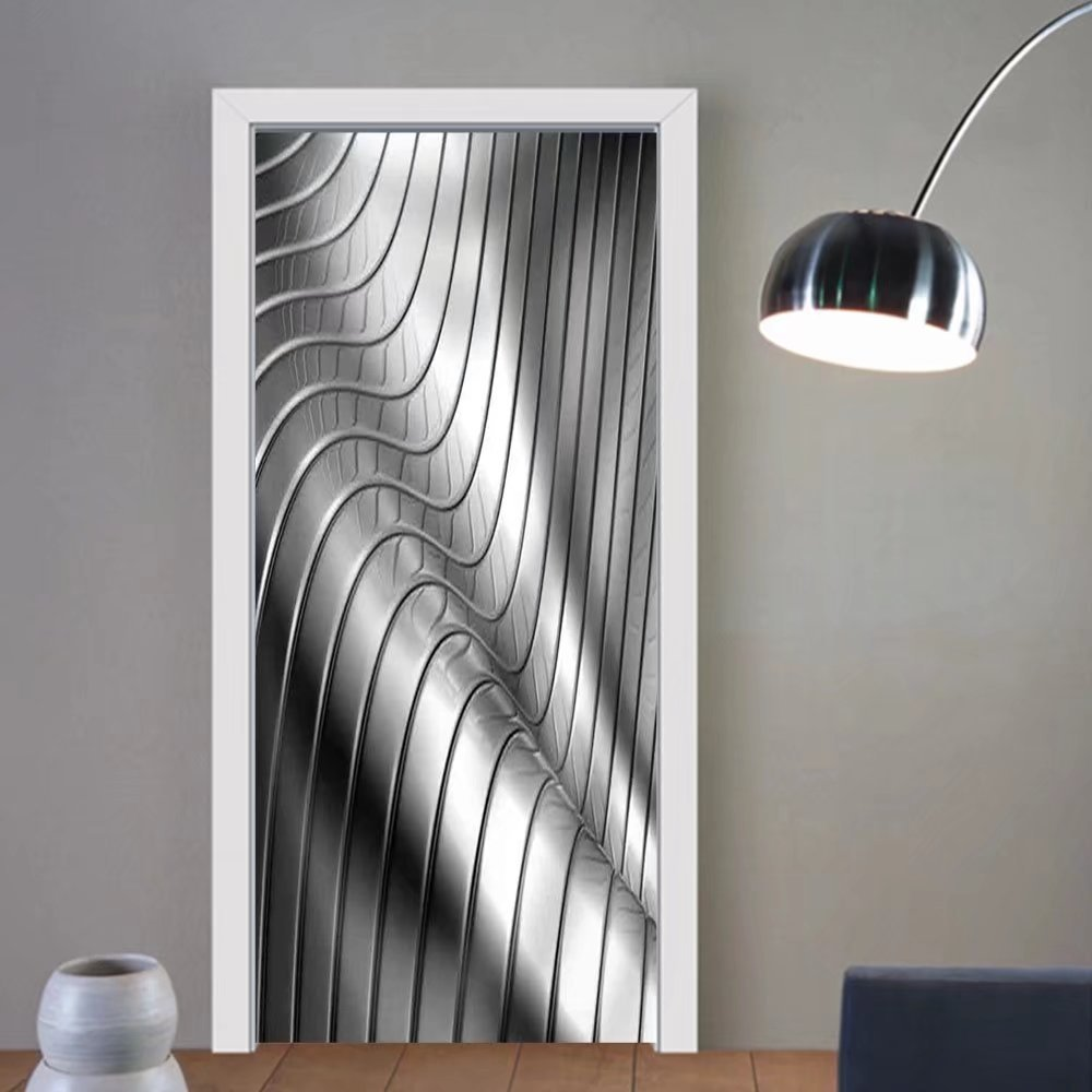 Gzhihine custom made 3d door stickers Aluminum Abstract Silver Stripe Pattern Background 3d Illustration Fabric Home Decor For Room Decor 30x79