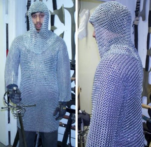 Medieval Chain Mail Shirt and Coif Armor Set (Full Size)  Long Shirt by Medieval Warrior