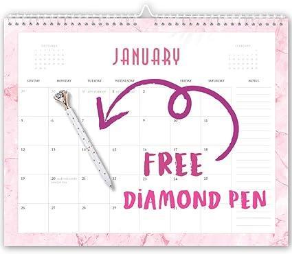 Calendario 2020 de mármol rosa con bolígrafo de diamante, calendario de pared 2020, calendario de escritorio 2020, calendario de pared 2020, calendarios mensuales, calendario de pared grande: Amazon.es: Oficina y papelería