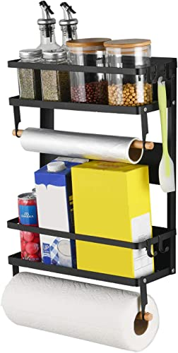 X-Chef Magnetic Spice Rack for Refrigerator, Multi-Tier Magnetic Shelf with 2 Paper Towel Holders and 5 Removable Hooks for Refrigerator Washing Machine, Black
