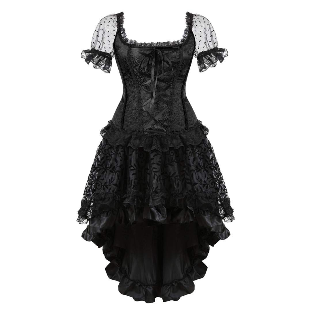 Black8108 Kranchungel Women's Burlesque Corset with Layered Tutu Skirt Showgirl Clubwear