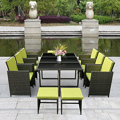 iKayaa 11PCS Rattan Patio Garden Dining Set Furniture Cushioned Outdoor Dining Table Chairs Iron Frame