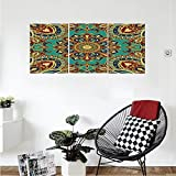 Liguo88 Custom canvas Mandala Decor Collection Pattern with Mandala Style Islamic Medieval Arabesque Motifs Oriental Ethnic Design Bedroom Living Room Wall