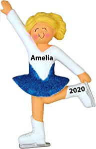 HOBBY HOME ACCESSORIES Personalized Ice Skater Christmas Tree Ornament 2020 | Girl Figure Skating Dress Blue White Sky Ornament - Free Personalized (Female Blonde)