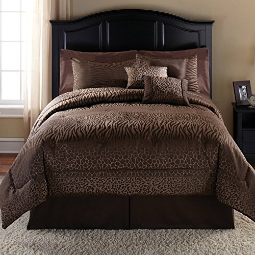 African Bedskirt - 7 Piece Dark Brown Safari Animal Pattern Comforter King Set, Elegant All Over Jungle Zoo African Wild Animals Featuring Tiger, Giraffe, Leopard Print, Luxurious Bedroom Bedding, Abstract Color