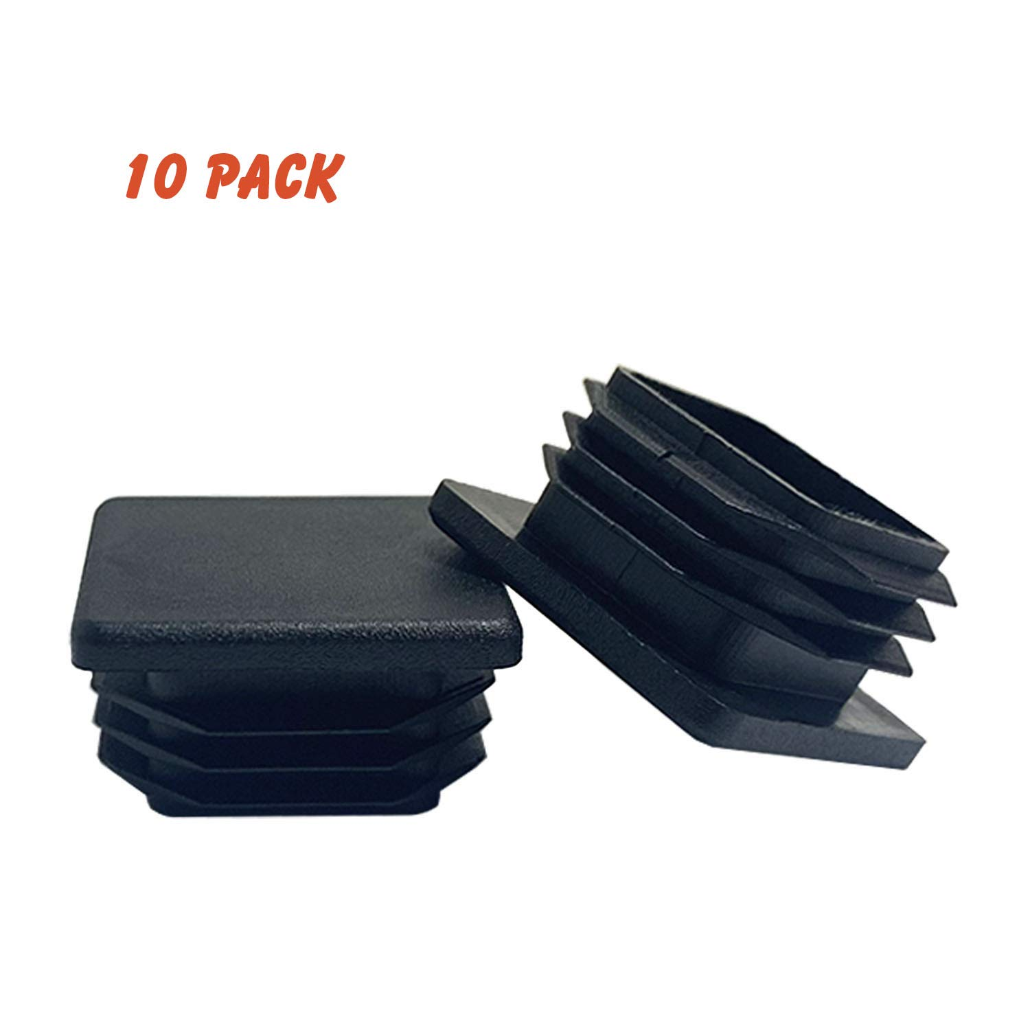 (10 Pack) OASIS 1-1/4 Inch Square Plastic Plug, Plastic End Caps for Square Tubing 1-1/4' O.D.