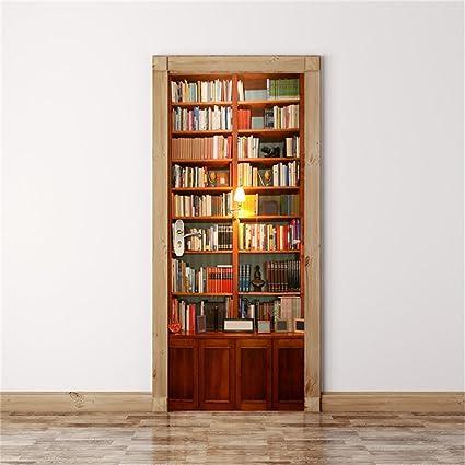 MISSSIXTY 3D Bookshelf Door Wall Mural Wallpaper Stickers Vinyl Removable Decals For Home Decoration 303