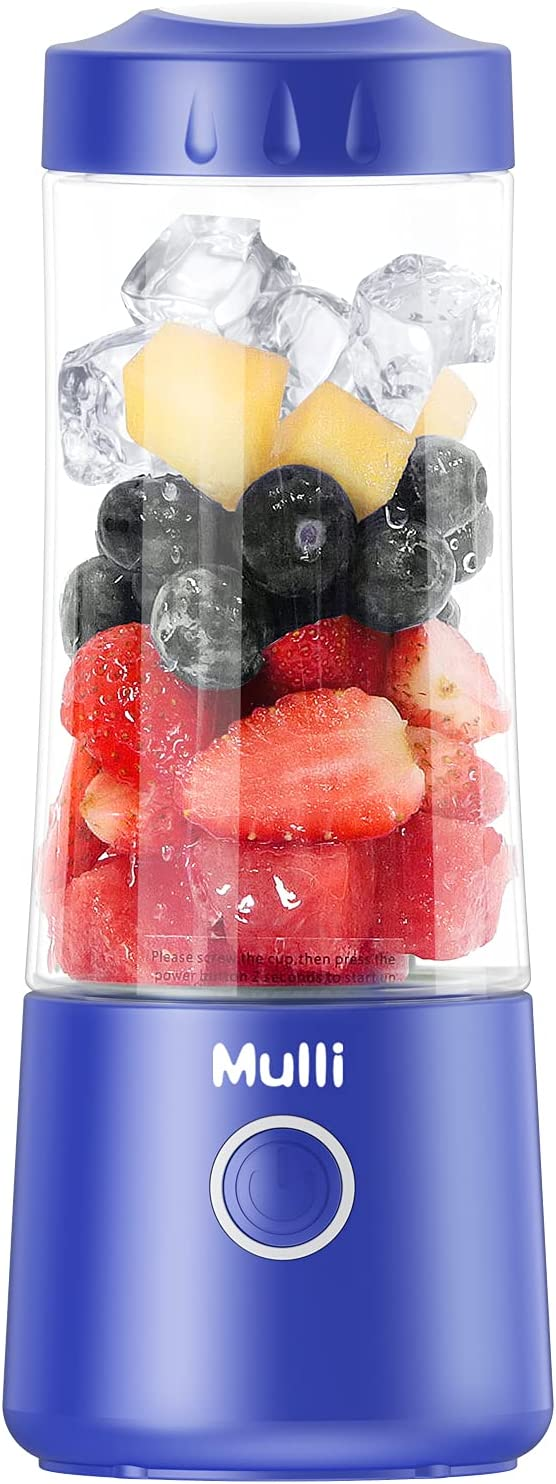 Mulli Portable Blender,13.5 Oz Usb Rechargeable Personal Mixer for Smoothie and Shakes, Mini Blender with Six Blades,4000mAh for Baby Food,Travel,Gym