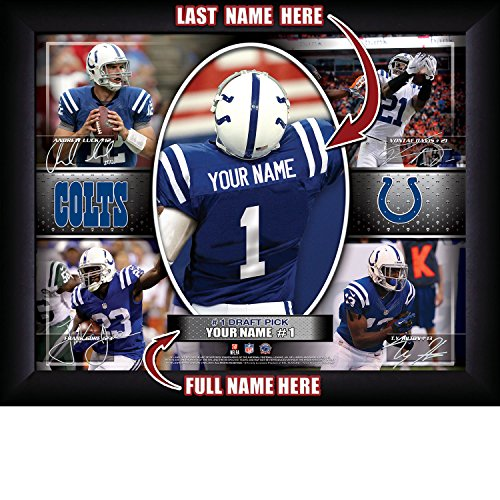 Indianapolis Colts Personalized NFL Football Number One Draft Pick Action Autograph Collage Framed Art Print 13x16 Inches