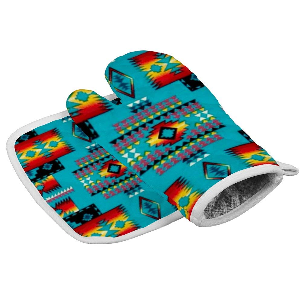 Native American Indian Western Turquoise 1 Oven Gloves Microwave Gloves Barbecue Gloves Kitchen Cooking Bake Heat Resistant Gloves Combination