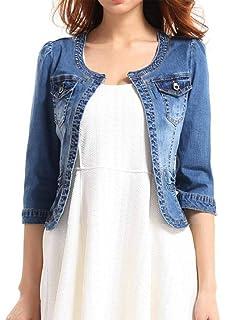 0a079682cd5 Fundu Women s Crew Neck Denim Blue Cute Three Quarter Sleeves Short Jacket