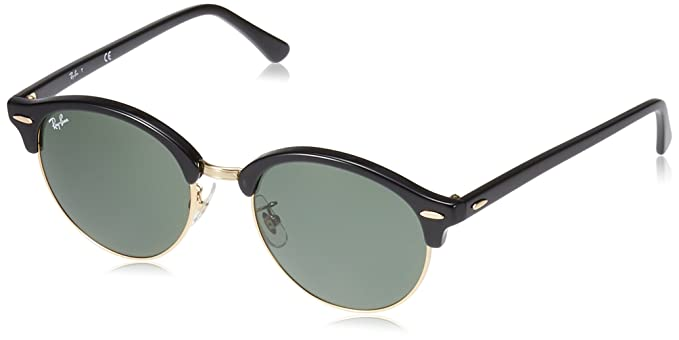 5bb6f86a856a Amazon.com: Ray-Ban Clubround Round Sunglasses, BLACK, 53.0 mm: Clothing