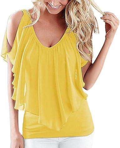 Camisetas Mujer,Venmo Tops Mujer,Camisas Mujer,Blusas de Mujer,Casual Camiseta sin Manga Mujer Verano,Cami Tops Blusa Sueltas de Mujer Verano: Amazon.es: Ropa y accesorios