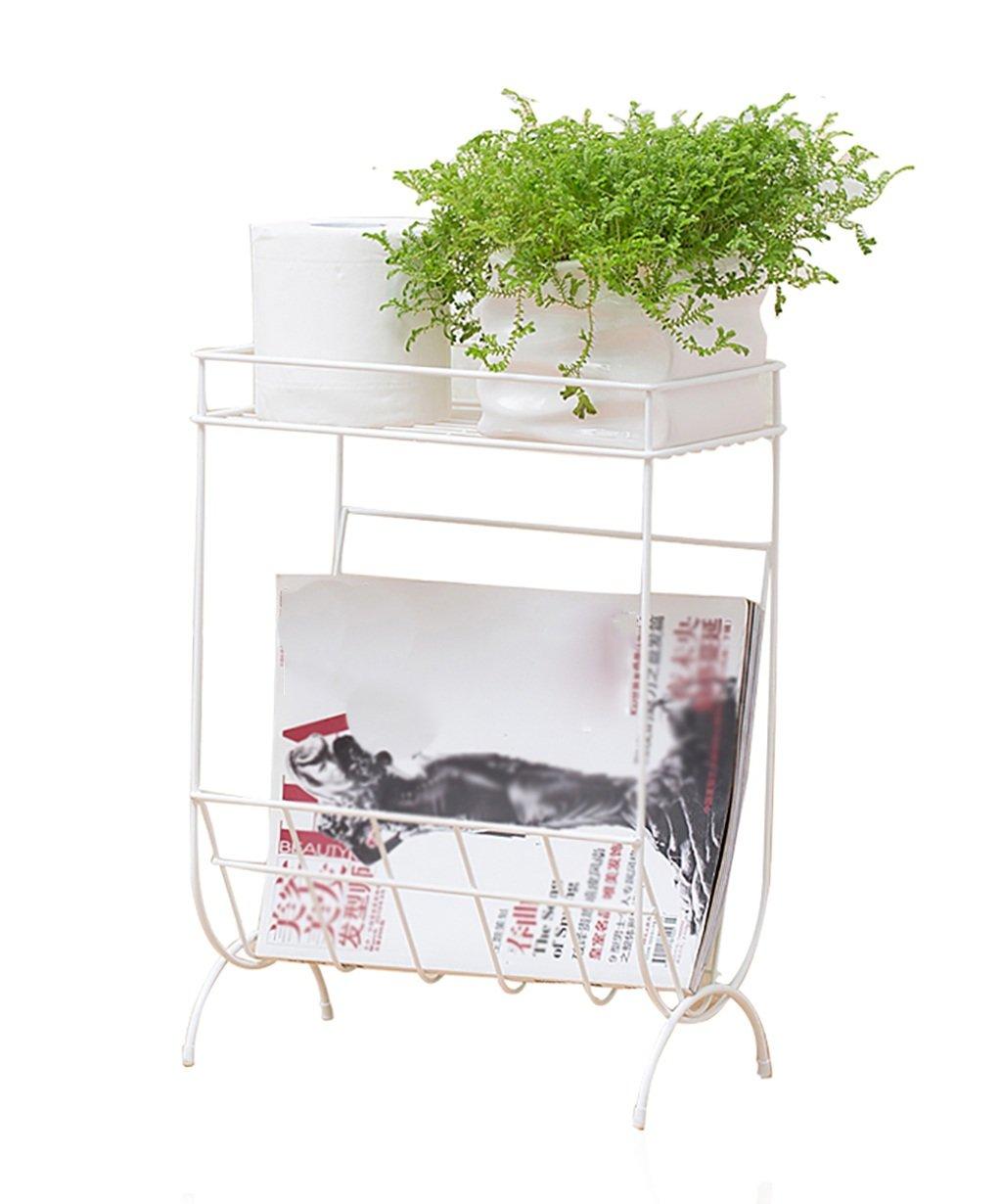LB huajia ZHANWEI Edelstahl-Blumen-Racks European Simplicity Schlafzimmer Wohnzimmer mit WC-Speicher Rack Weiß