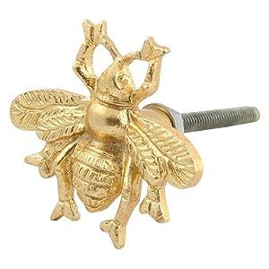 IndianShelf Handmade 6 Piece Aluminum Golden Bee Artistic Rust Free Decorative Knobs for Dressers Decorative Pulls Handle