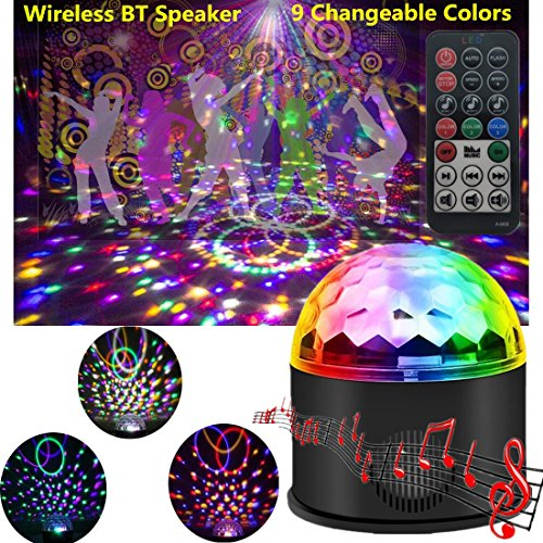 Disco Ball Projector Party Lights Speaker Strobe Club lights Effect Magic Mini LED Stage Lights Wireless Phone Connection with Remote Control for Kids Birthday Gift Home KTV Xmas Wedding (9 Colors)