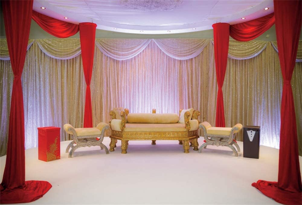AOFOTO 9x7ft Indian Traditional Wedding Stage Backdrop for Photography Decoration Hindu India Marriage Ceremony Celebration Sofa Beautiful Curtains Background for Photos Photo Studio Props Vinyl