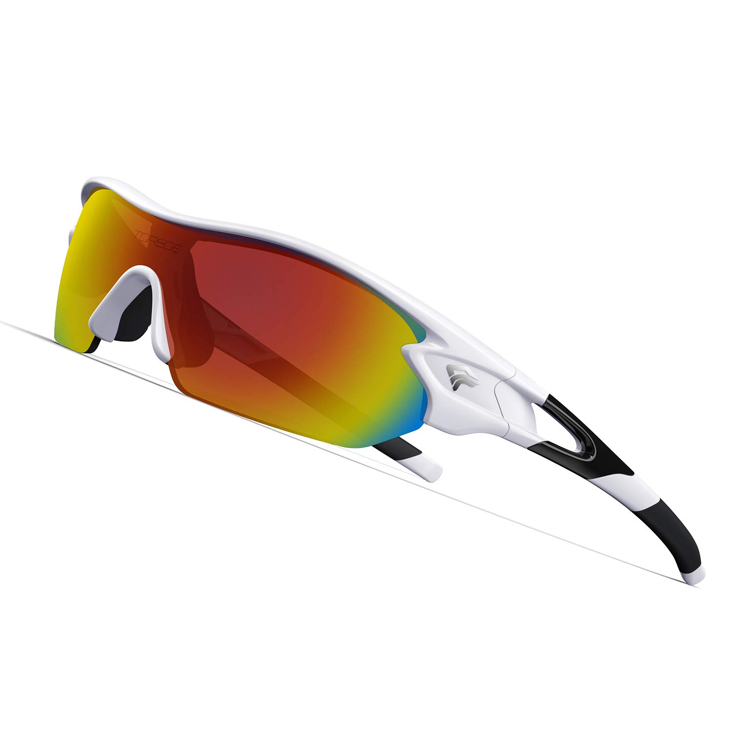 TOREGE Polarized Sports Sunglasses with 3 Interchangeable Lenes for Men Women Cycling Running Driving Fishing Golf Baseball Glasses TR002 (White&Black) by TOREGE