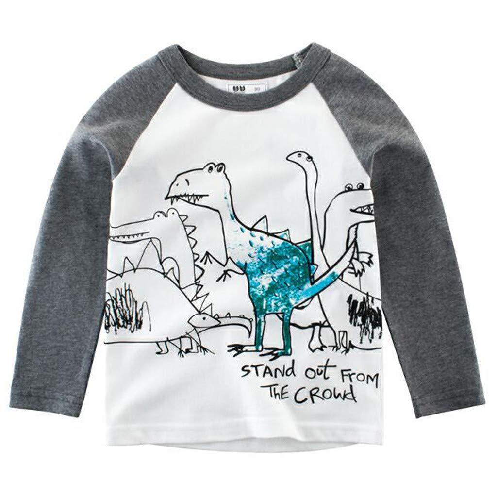 Jchen Little Kids Spring Cute Cartoon Tops, (TM) Kids Baby Boy Cartoon Dinosaur Shark Print T-Shirt Tee Tops for 1-8 Y (Age:4-5 Years, C)