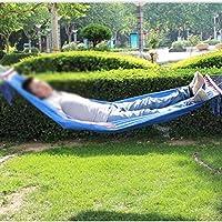Hamacas Jardín Exterior de poliéster Hamaca portátil de Madera Polo Cama Anti-vuelco de Malla Transpirable Columpio Hamaca Ultra Light Columpio Silla (Color : Blue): Amazon.es: Hogar