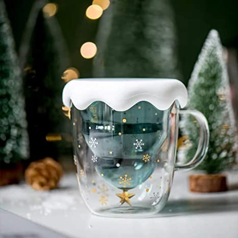 Amazon Com Fun Christmas Coffee Mugs Holiday Cups 10oz Double Wall Glass Tableware With Lid And Handle Tree Snowflake Glassware For Tea Milk Beverage Juice Water 300ml With Lid Coffee Cups