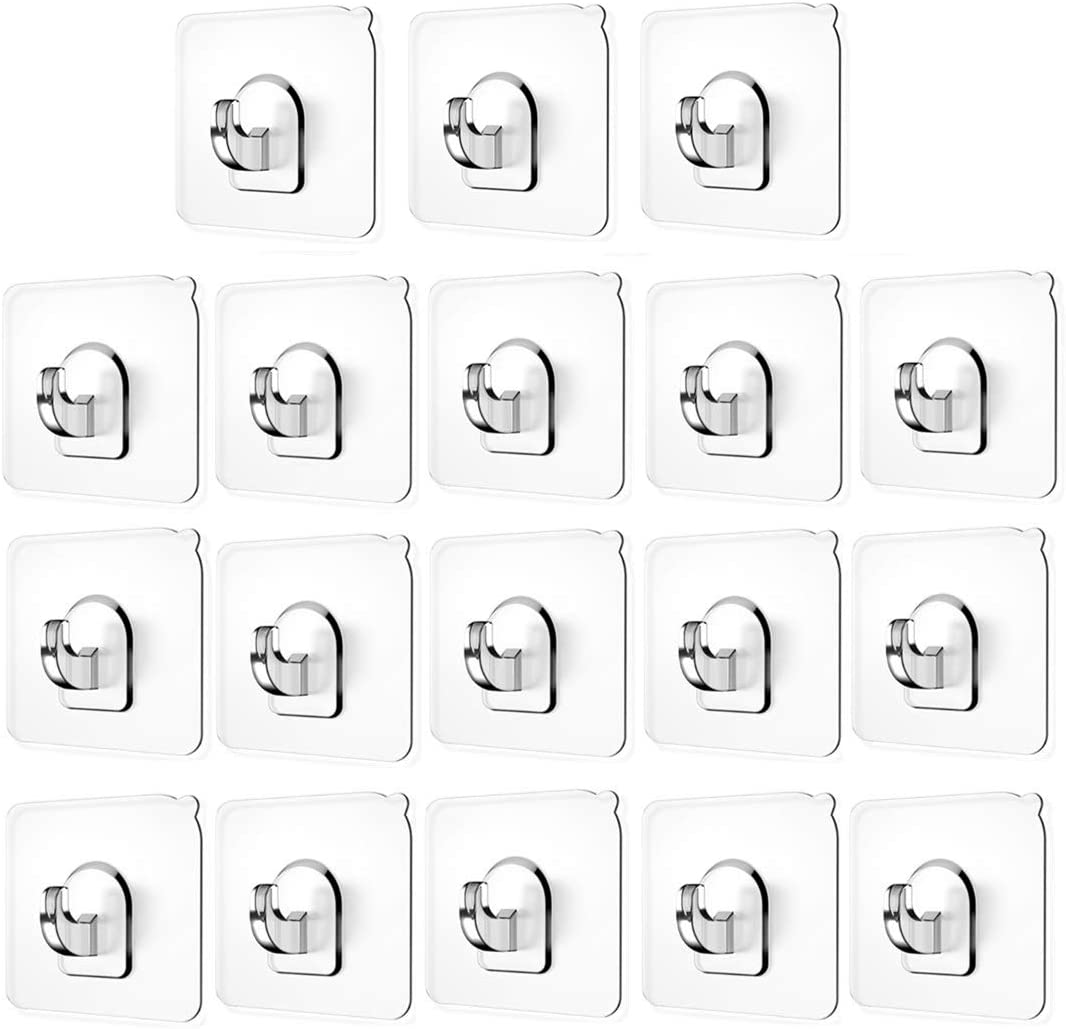 Wall Hooks(13.2lb), Self Adhesive Hooks, Clear Plastic Reusable Heavy Duty Hook for Kitchen Bathroom Office, No Trace No Scratch Waterproof and Oilproof (18 Pack)