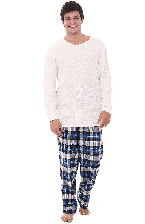 Alexander Del Rossa Mens Flannel Pajamas, Thermal Knit Top Cotton Pj Set A0706