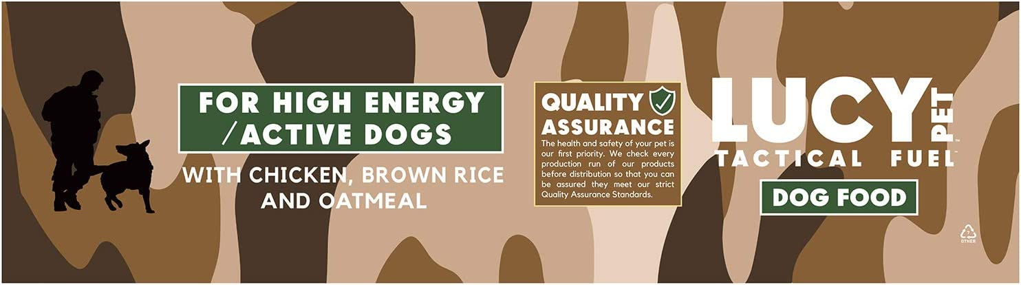 Lucy Pet Products Tactical Fuel Dry Dog Food for High Energy Adult Active Working Hunting Dogs All Breeds, Brown