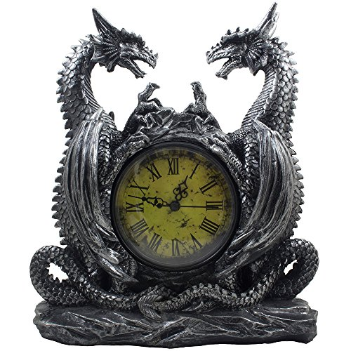(Mythical Dragon Duo Desk Clock in Metallic Look and Antique Face with Roman Numerals for Desktop, Shelf & Mantle As Gothic Medieval Decor Or Decorative Office)