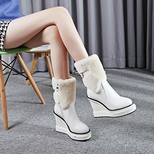 Women's Wedges Heel Platform Pointed Toe Thick Wool Winter Ankle Boots White TtApG2zG